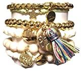 CAT HAMMILL ( キャットハミル ) オーストラリア デザイン ゴージャス ブレスレットセット leather heart bracelet set gold レザー ミックス ゴールド マルチ ブレスレット ポーチ セット 海外 ブランド