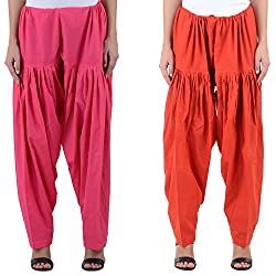Numbrave Women's Pink-Red Cotton Full Patiala Salwar (Combo of 2)