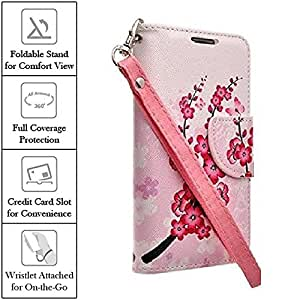 XYZ® Samsung Galaxy Note 5 Wallet Case (AT&T T-Mobile Sprint Verizon) Slim Leather Flip Design Wallet Pouch (Japanese Flower)