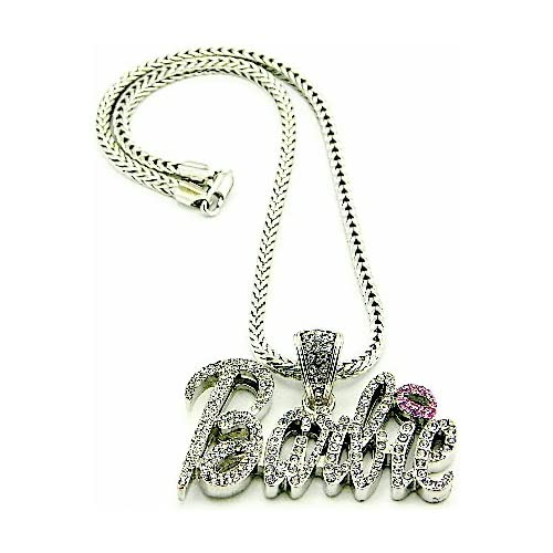 Nicki Minaj Barbie Iced Out Pendant Necklace Silver With Pink Lips Medium