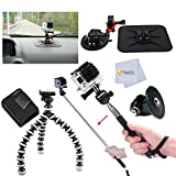 Car Kit for GoPro Hero3, Hero3 + with Suction Windshield Mount and Dashboard Mount + Extendable Handheld Monopod + Gripster Tripod + Extra Battery