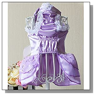 Dogloveit Stretch Satin Wedding Style Tutu Dress With Lace and Bow Summer Cute Clothes For Dog Cat Puppy Pet,Purple,Medium