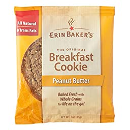 Erin Baker\'s Breakfast Cookies Peanut Butter, 3-Ounce Individually Wrapped Cookies, 12 Count