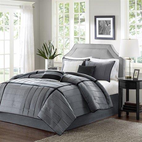Madison Park Bridgeport 7 Piece Comforter Set - Grey - Queen front-1019015