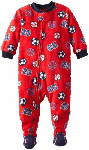 Vitamins Baby Baby-Boys Infant Sports Footed Pajama, Red, 18 Months front-1018157
