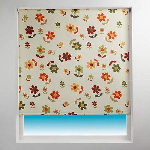 Sunlover Patterned Thermal Blackout Roller Blind, Daisy, W180cm