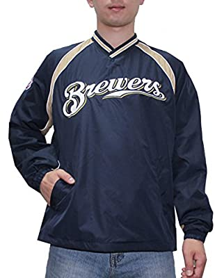 MILWAUKEE BREWERS MLB Mens Athletic Wind Breaker Jacket with Lining