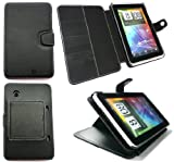 FLASH SUPERSTORE HTC FLYER PREMIUM PU LEATHER DESKTOP STAND WALLET CASE/COVER/POUCH BLACK