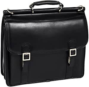McKleinUSA HALSTED Leather Black Double Compartment Laptop Case