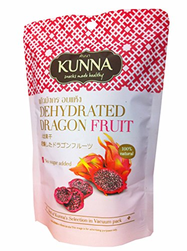 2 Packs of Dehydrated Dragon Fruit, Best of Kunna's Selection in Vacuum Pack. No Sugar Added. Snacks Made Healthy By Kunna (50 G/