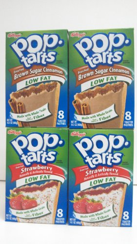 Pop Tarts Toaster Pastries, Low Fat Frosted Brown Sugar Cinnamon & Low Fat Frosted Strawberry 8 Count Tarts 2 Boxes Each Flavor (4 Pack) front-59681