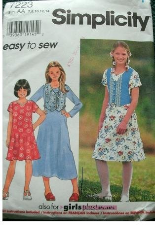 Girls & Girls Plus Dress In Size 7-8-10-12-14 And Girls Plus 8 1/2 - 16 1/2 Simplicity Easy Sewing Pattern 7223