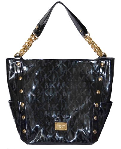 ec259da30f04 Michael Kors Black MK Mirror Metallic Signature Delancy Large Shoulder Bag  Tote Handbag Purse