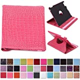 HDE 360° Rotating Leather Folio Case and Stand with Sleep/Wake Feature for iPad 2/3/4 (Pink Crocodile)