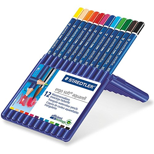 ステッドラー 水彩色鉛筆 エルゴソフト  156SB12 三角軸 12色