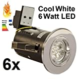 8 X Die Cast Polished Chrome Fixed Fire Rated Long Can LED Downlight Complete With 6 Watt Cool White GU10 LED 240V Mains