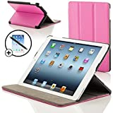 ForeFront Cases® New iPad 2 / iPad 3 & iPad 4 Luxury Leather Case / Cover Stand - Apple iPad 2 , iPad 3 & iPad 4 / 2nd , 3rd & 4th Gen - Magnetic Auto Sleep Wake Function + STYLUS & SCREEN PROTECTOR WORTH £9.95 - PINK