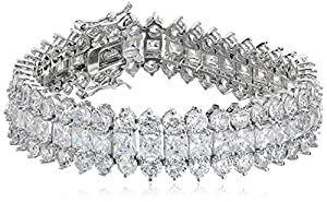 "Cubic Zirconia by Kenneth Jay Lane ""Classic Cubic Zirconia"" Rhodium-Plated Three-Row Bracelet, 7"""
