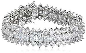 "Cubic Zirconia by Kenneth Jay Lane ""Classic Cubic Zirconia"" Rhodium-Plated Three-Row Bracelet, 7"", 12 CTTW"
