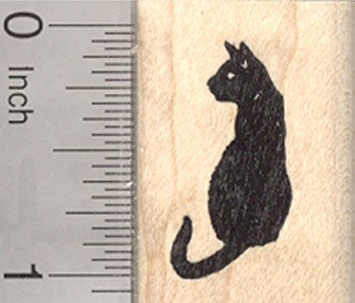 Sitting Black Cat Rubber Stamp, Small