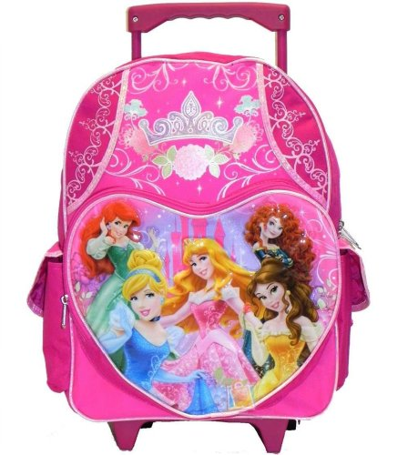 "Princess 16"" Rolling Backpack Cinderella Brave Mermaid Snow White"