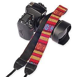Eggsnow Camera Shoulder Neck Strap Vintage Belt for All DSLR Camera(Nikon Canon Sony Pentax etc) - Strip Red