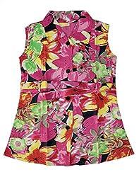 RANGREJA Tropical Dress for Girls Pink Green