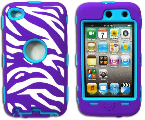 Mylife Violet Purple + Sky Blue Zebra Stripes Hybrid Survivor (Built In Screen Protector) Case For Ipod 4 (4G) 4Th Generation Itouch (Durable Body Armor Defender Glove + Soft Flexible Shockproof External Gel + Hard Internal 2 Piece Snap Guard)