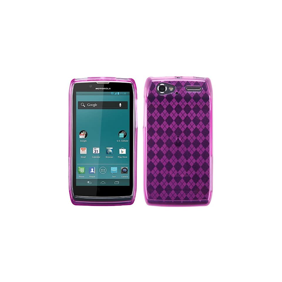 Hot Pink Argyle Candy Rubber Tpu Soft Case Skin Cover For Motorola Electrify 2 XT881 w/ Free Pouch