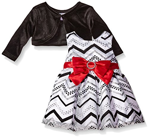 Youngland Baby Girls' 2 Piece Dress Chevron Print Dress with Cardigan, White/Black, 12 Months
