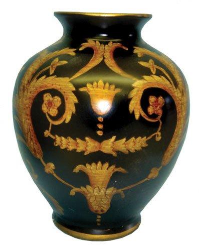 Black and gold porcelain flower vase - 6