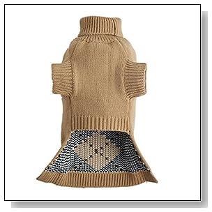 PetTa Grey Cute Argyle Design Christmas Doggie Sweater S