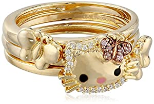 "Hello Kitty ""Butterfly Kitty"" Gold Plated with Swarovski Outline Stack Ring Set"