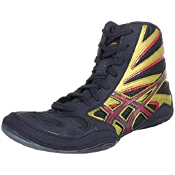 ASICS Men\'s Split Second 8 Wrestling Shoe,Navy/Gold/Red,12 M US