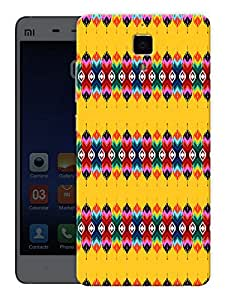 "Humor Gang Traditional Ethnic Pattern Yellow Printed Designer Mobile Back Cover For ""Xiaomi Redmi Mi4"" (3D, Matte, Premium Quality Snap On Case)"