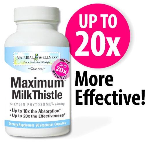 Natural Wellness Maximum Milk Thistle - 90 Vegetarian Capsules