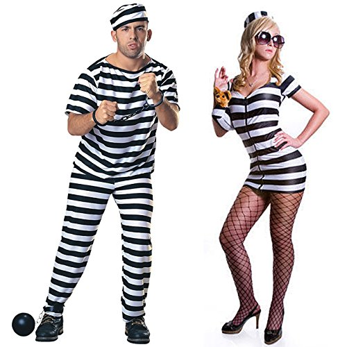 HDE His & Hers Prisoners of Love Adult Halloween Couples Costumes