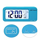 ROYMAX Alarm Clock, Snooze, Temperature, Date, Alarm Status, Operated by Both Built-in Battery and Charging Cable (Blue)