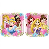 Disney Princess Party Plates - Disney Princess Square Dinner Plates - 8 Count