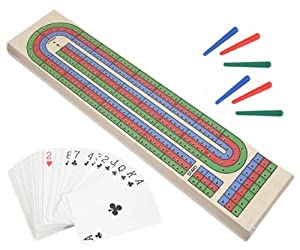 AGP Traditonal Wooden Cribbage Board Set With Playing Cards
