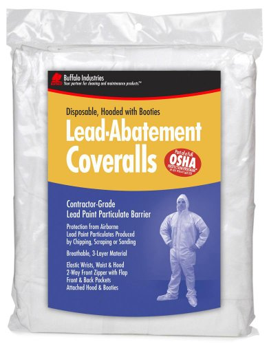 Buffalo 68440 Disposable Lead Abatement Coveralls, Medium