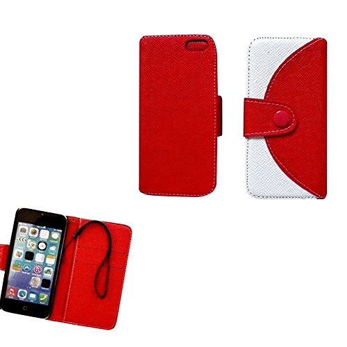 Mylife (Tm) Bright Red And White {Modern Design} Faux Leather (Card, Cash And Id Holder + Magnetic Closing + Hand Strap) Slim Wallet For The Iphone 5C Smartphone By Apple (External Textured Synthetic Leather With Magnetic Clip + Internal Secure Snap In Ha