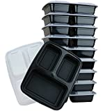 3-Compartment Microwave Safe Food Container with Lid/Divided Plate/Lunch Tray with Cover, Black, 10-Pack (10)