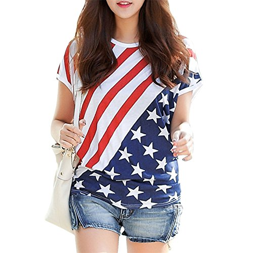 OFIN Womens Star and Stripe American USA Flag Batwing Short Sleeve T shirts Tops