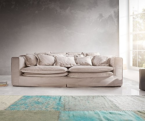 Big Sofa Noelia Hellgrau 240×145 cm inklusive Kissen Hussensofa