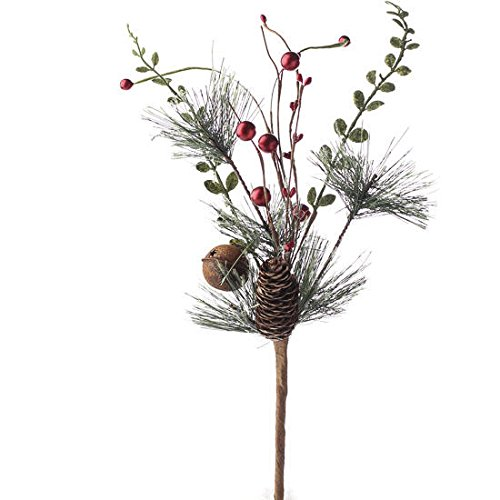Package of 4 Holiday Pine, Red Berry, and Pinecone Spray with Decorative Rusty Bell