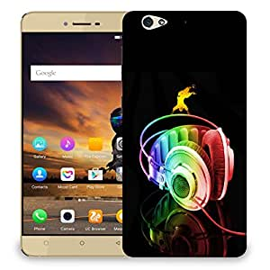Snoogg Colorful Headset Designer Protective Back Case Cover For GIONEE S6