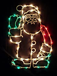 "18"" Lighted Waving Santa Claus Christmas Window Silhouette Decoration"