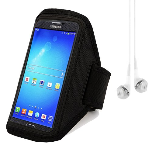 Outdoor Sports Cycling Armband For Samsung Galaxy Mega 6.3 / Mega 5.8 (Black) + White Vangoddy Headphone With Mic