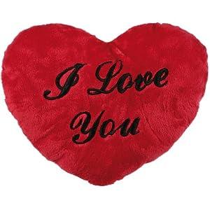 Coussin en forme de coeur avec écrit